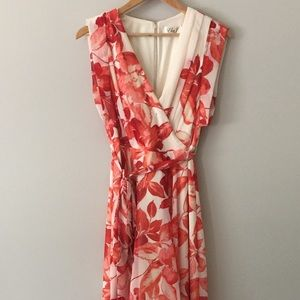 Eliza J Poppy Red Coral Floral High-Low Dress